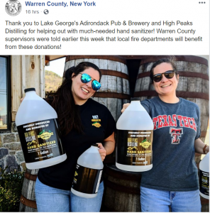 Thank you to Lake George's Adirondack Pub & Brewery and High Peaks Distilling for helping out with much-needed hand sanitizer! Warren County supervisors were told earlier this week that local fire departments will benefit from these donations!