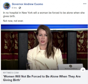 In no hospital in New York will a woman be forced to be alone when she gives birth.