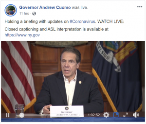 Holding a briefing with updates on #Coronavirus. WATCH LIVE: Closed captioning and ASL interpretation is available at https://www.ny.gov